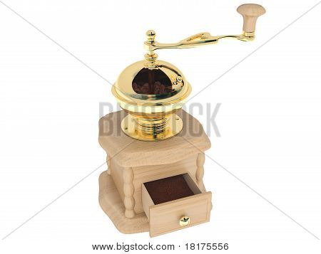 coffee grinder of light wood