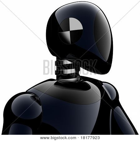 Black cyborg crash test dummy
