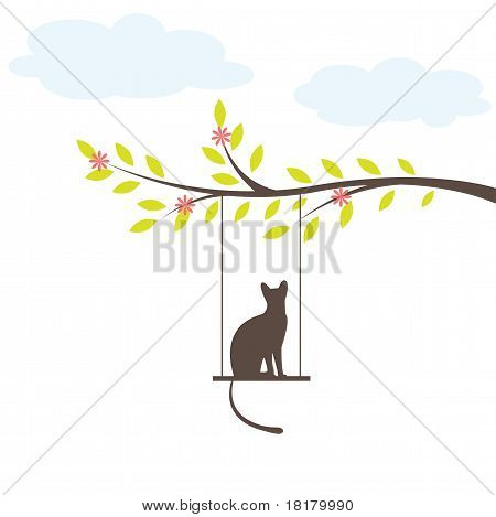 Black cat on  swing and tree. Vector Illuatration