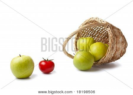 Apples And The Basket On Canvas