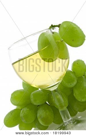 wine and green grapes