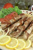 pic of souvlaki  - Plate of traditional Greek pork skewer  - JPG