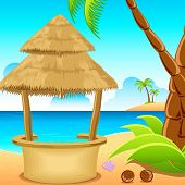 image of beach-house  - illustration of straw hut on lonely beach with coconut tree - JPG
