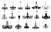 image of chandelier  - An image of 17 different shapes of chandelier - JPG