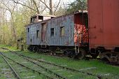 pic of caboose  - Side view of a old vintage train caboose - JPG