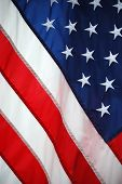 stock photo of waving american flag  - Shot of the United States flag softly waving - JPG