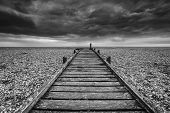 Concept Image Of Path To Nowhere In Desolate Beach Black And White Landscape poster
