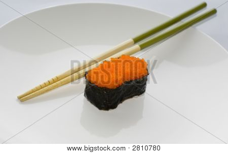 Masago Gunkan Maki Salmon Roe Sushi With Chopsticks
