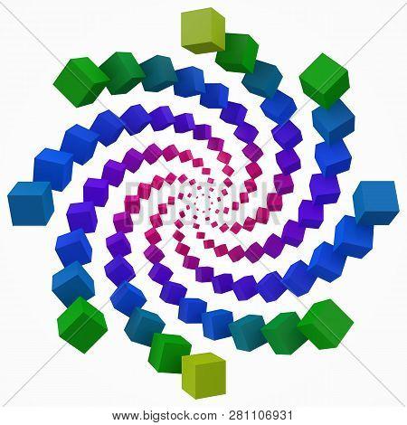 Colorful Cubes Swirl 3d Pixel