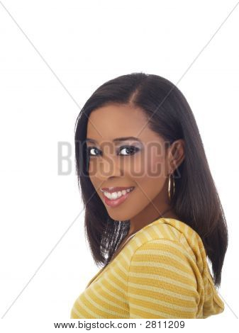 Young Black Woman Portrait In Yellow Top