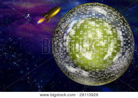 Retro space craft near large interstellar city ship