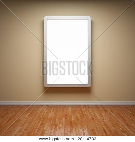 Outdoor de publicidade em branco na sala vazia