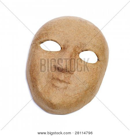 a simple paper-mache mask on a white background