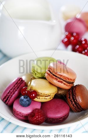 Colorful macaroons in a white plate and fresh milk