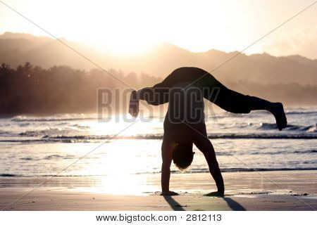 Man Trying Cartwheel