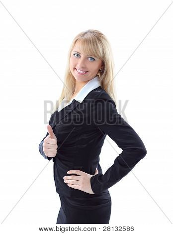 Beautiful smiling business woman showing thumbs up