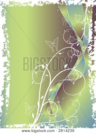 Abstract Floral Swirl Glitter Blue Green Background (Vector)