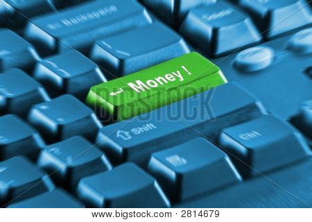 Green Money Button On A Blue Keyboard