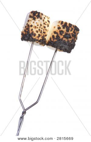 Two Toasted Marshmallows, White Background