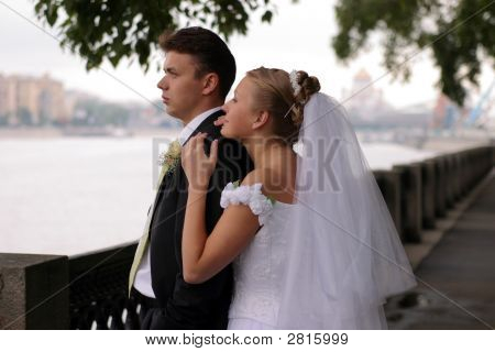 Newlywed Couple On Wedding Day