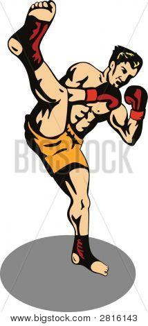 Kicking Boxer Kicking Front