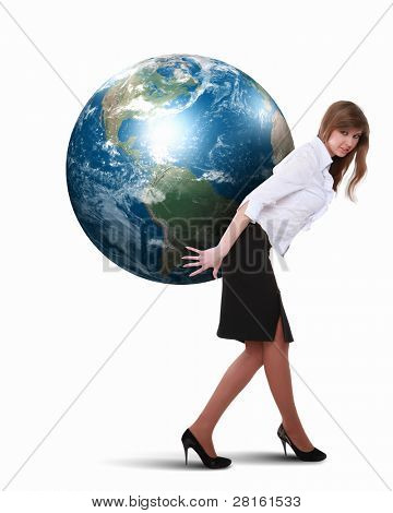 Collage of a businesswoman with our planet earth