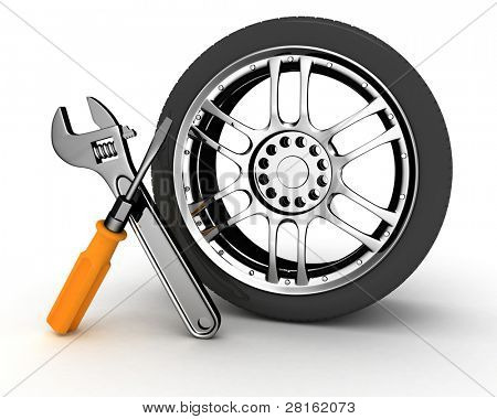 Wheel and Tools. Car service. Isolated 3D image