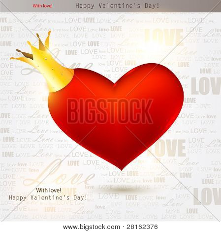Beautiful red heart with crown. Valentines day. Vector background