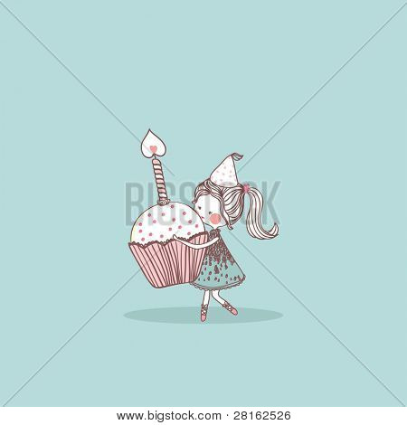girl with birthday cupcake