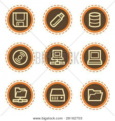 Drives and storage web icons, vintage buttons