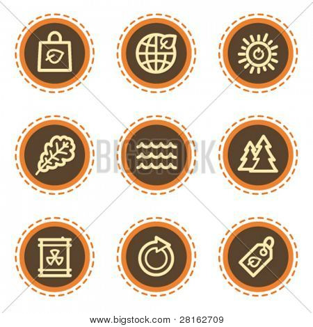 Ecology web icons set 3, vintage buttons