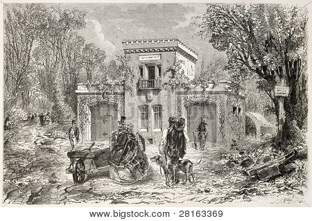 Guard house in the Bois de Vincennes, Paris surroundings. Created by Ferat and Fessart, published on L'Illustration, Journal Universel, Paris, 1858