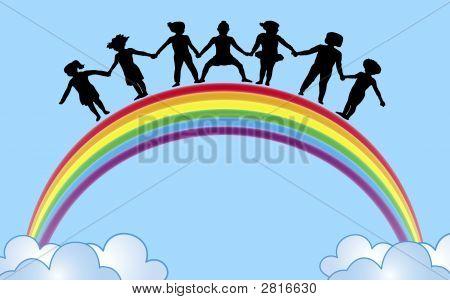 Manos en arco iris