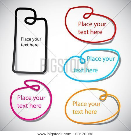 Vector illustration of blank notice noose frames for any text.
