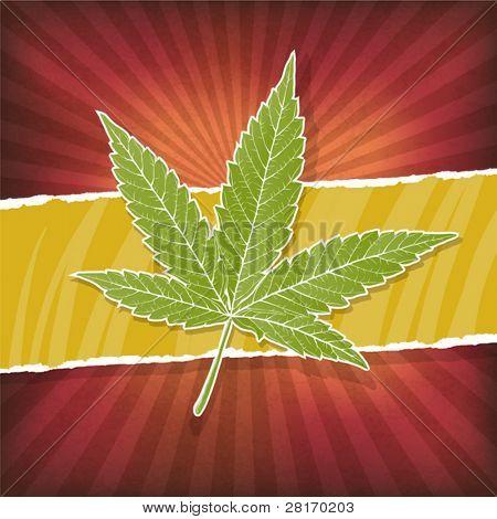 Plano de fundo com cores de folha e rasta de cannabis