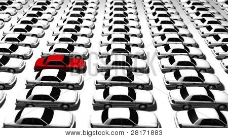 Hundreds of generic cars, one red