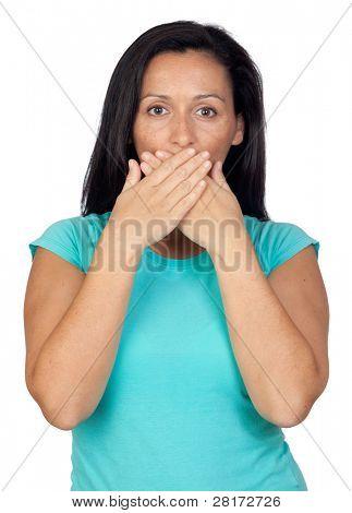 Adorable Woman covering Mund isoliert auf einem Over white Background