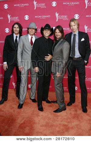 LAS VEGAS - APRIL 5: Andrew Nielson, Stokes Nielson, Ryder Lee, Manny Medina and Jeff Potter of The Lost Trailers at the 44th Academy Of Country Music Awards on April 5, 2009 in Las Vegas, Nevada
