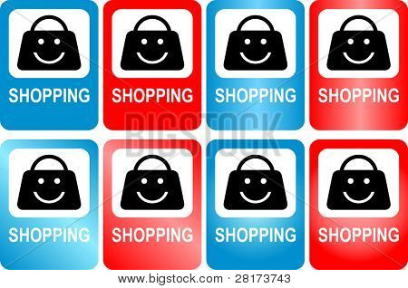 """Illustration of roadway marker, shop sign """"shopping"""". Vector version of this image (""""*.eps"""") also available in my portfolio."""
