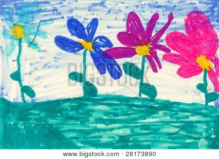Children's paint flowers