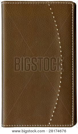 Brown leather memo book isolated on white background