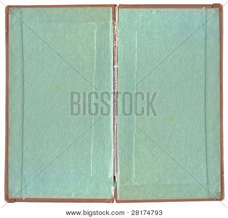 Old book open on both blank shabby pages