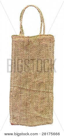 Burlap gift bag isolated on white