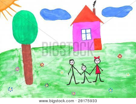 Children's paint family in summer nature