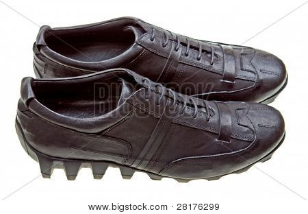 Black sport shoes isolated on white background