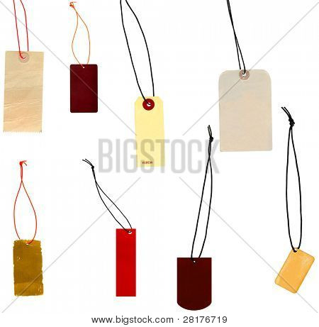 Collection of labels prise labels isolated on white