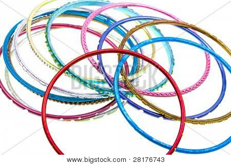 Close-up colorful wrist bands isolated on white to background