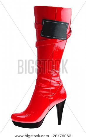 Stylish high heel fashion red boot with empy label isolated on white
