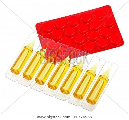 Close-up medicaments pills and capsules isolated on white background