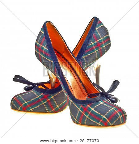 Beautiful plaid high heels isolated on white background